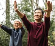 Older couple practicing ti chi