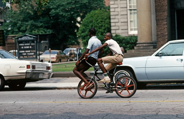 African Americans On Chooper Bike, Downtown Savannah, Georgia, USA, July 1983