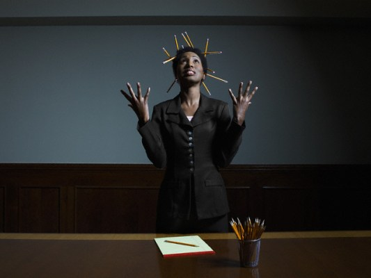 Businesswoman Running out of Ideas --- Image by © Hans Neleman