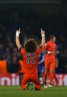 11 Mar 2015, London, England, UK --- David Luiz of Paris St Germain celebrates victory --- Image by © Matthew Ashton/AMA/AMA/Corbis