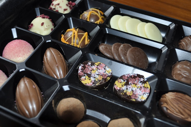 Milk Chocolate Buttons Cocoa Dusted Dark Chocolate Salted Caramels Dark Chocolate Coffee Bean Pink Champagne Truffle