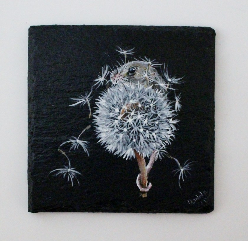 A mouses wish - hand painted mouse on dandelion, painted onto a slate coaster