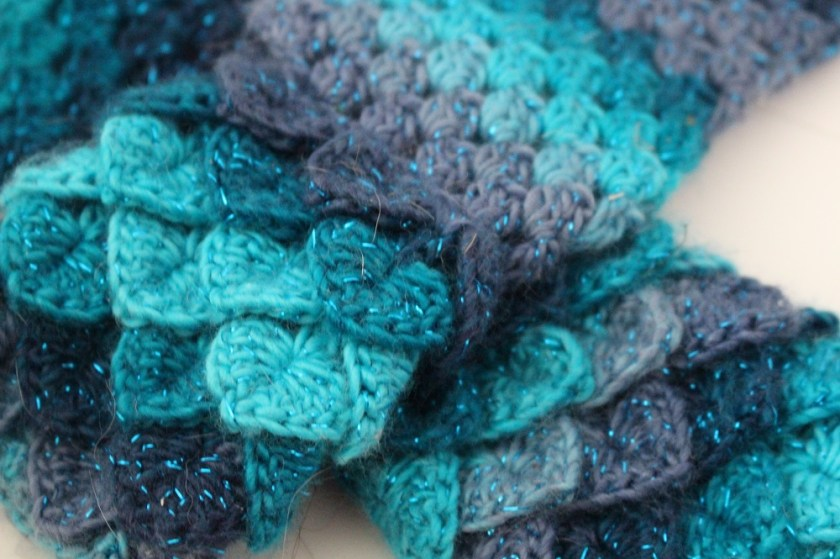Dragon Scale Gloves in a multiple shades of blue with sparking thread running through