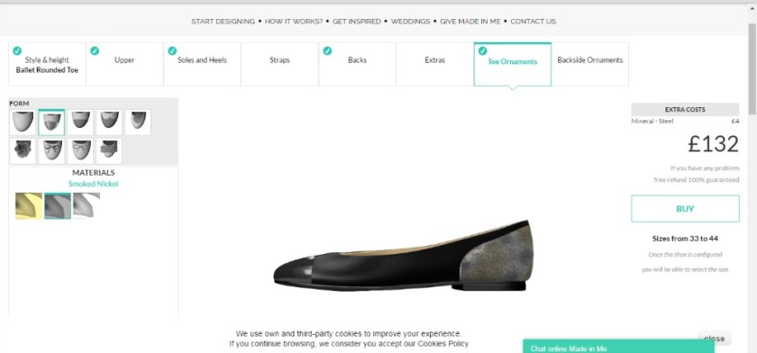 Made in Me Shoes, Screen shot of shoe design programme on their webpage