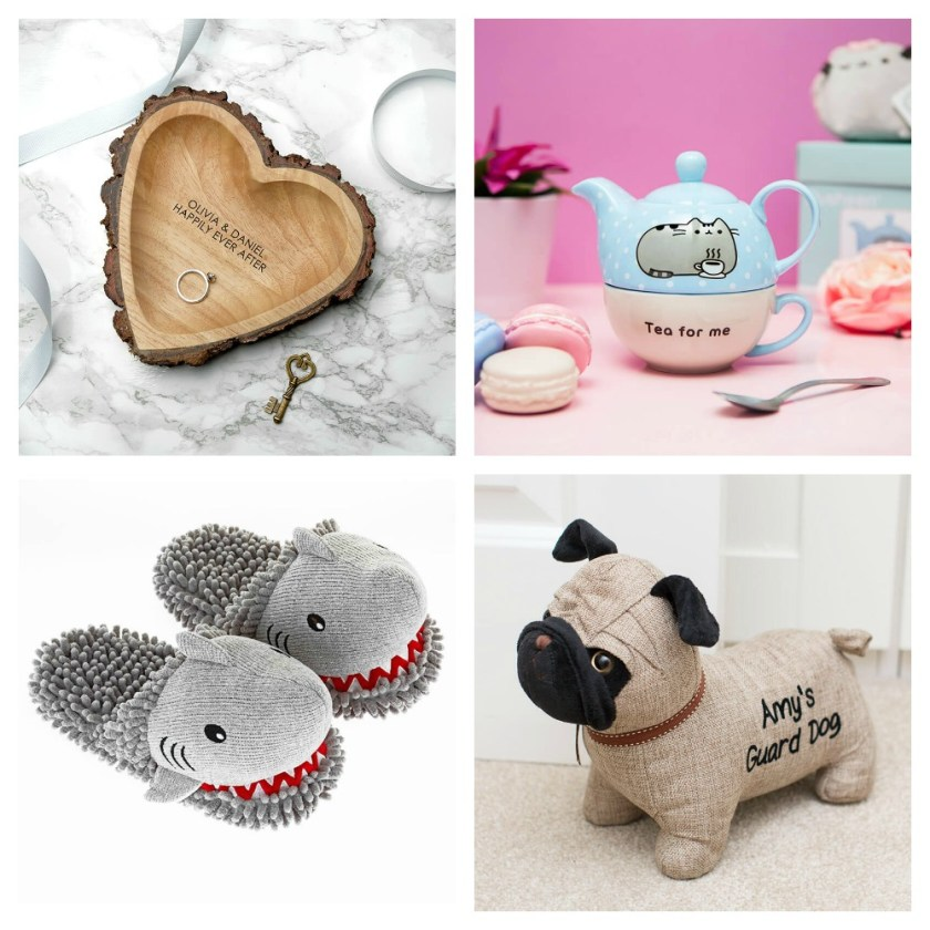 Prezzybox Wishlist September Personalised Wooden Heart Dish Pusheen Teapot & Mug Fuzzy Friends Shark Slippers Personalised Pug Doorstop