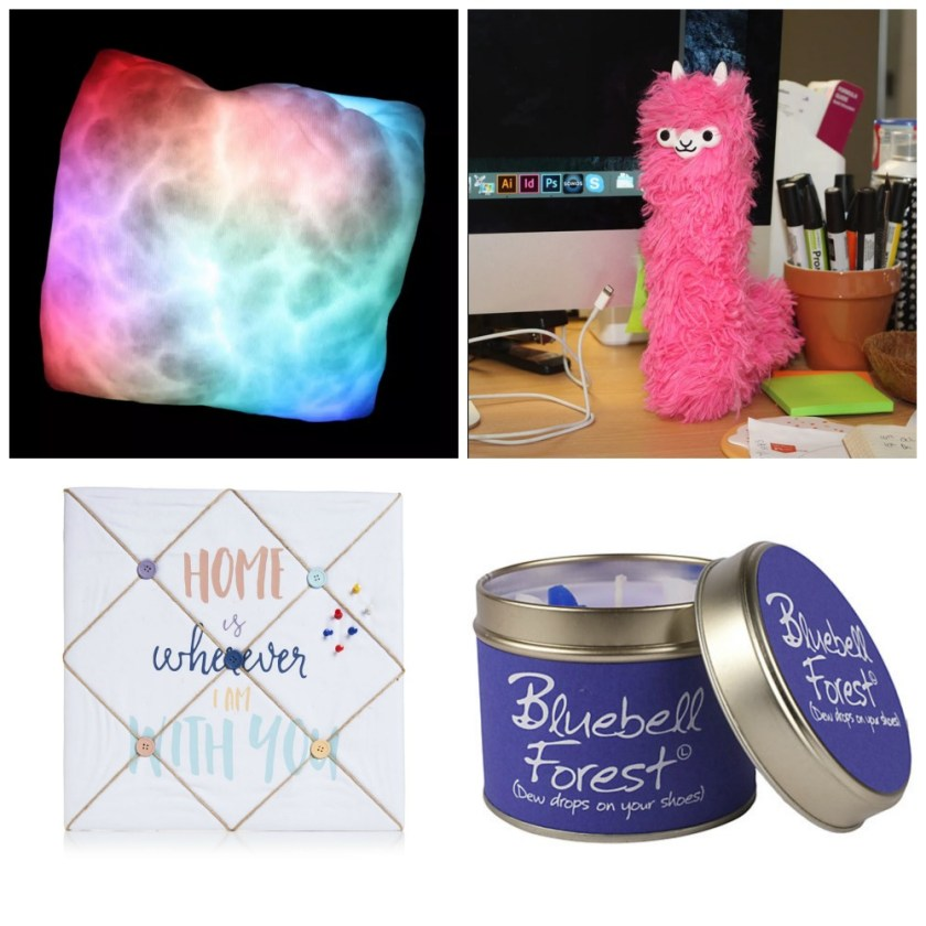 Quirky things for the home. Moonlight Cushion from Prezzybox Llama Duster from Prezzybox. Home Words Fabric Pin Board from Wilko. Lily-Flame Bluebell Forest Scented Candle Tin from John Lewis.