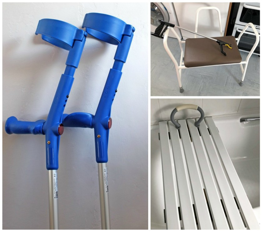 Picture of some of the equipment I use to help me, blue crutches to the left, kitchen stool and grabber to top right and bath seat to the bottom right