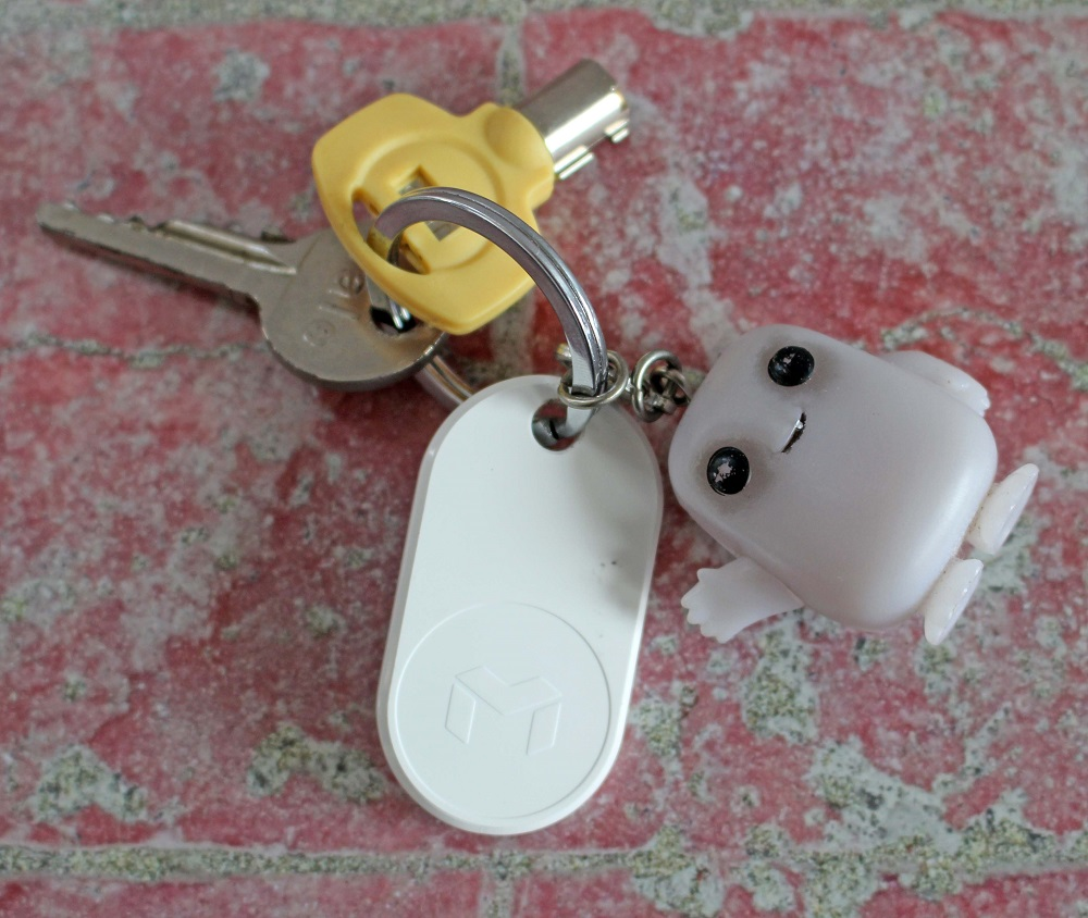 MYNT ES Tracker attached to a set of keys with an adipose keyring