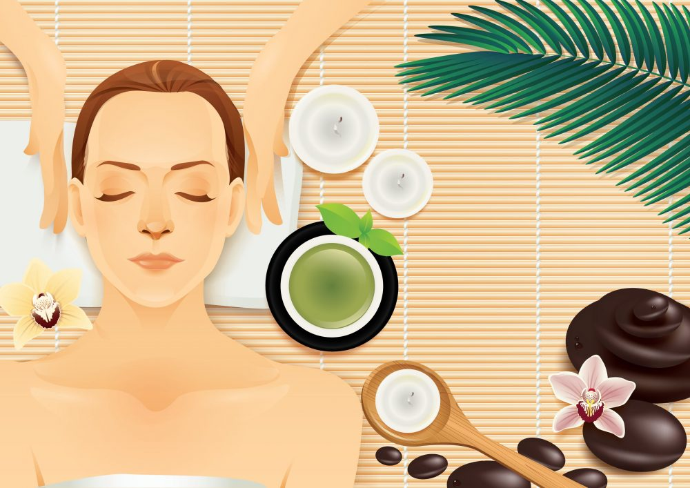Vector Illustration Woman at spa