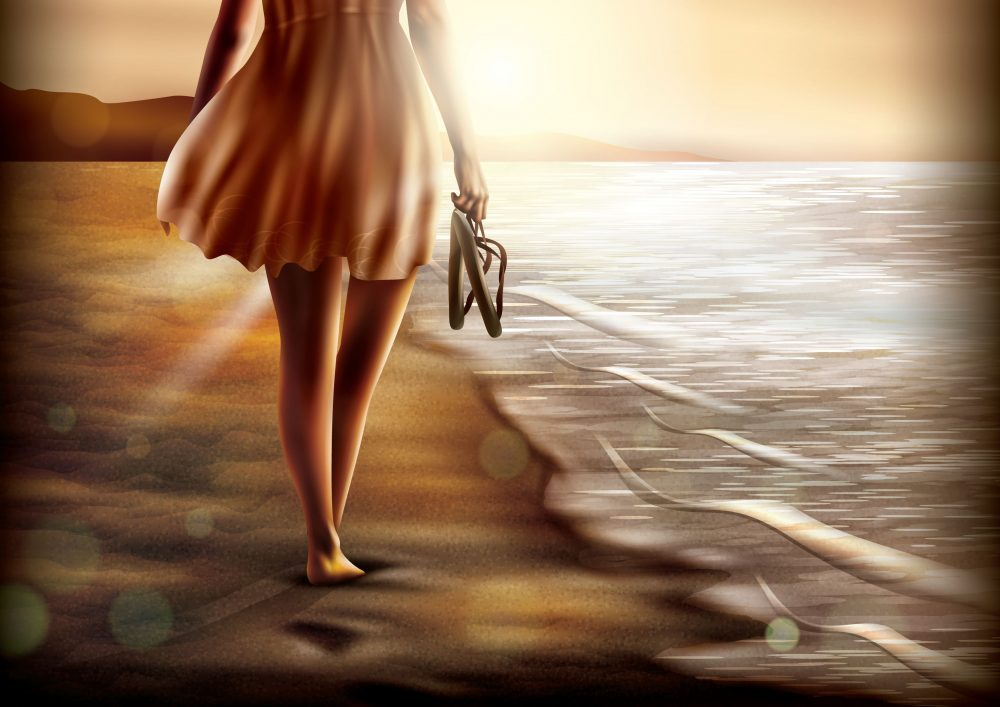 Vector of a lady walking along the shore, shoes in hand