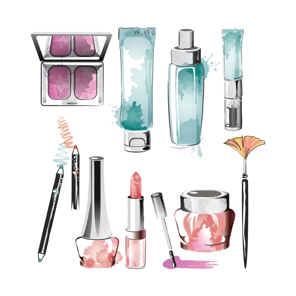 Vector Illustration Set of makeup items