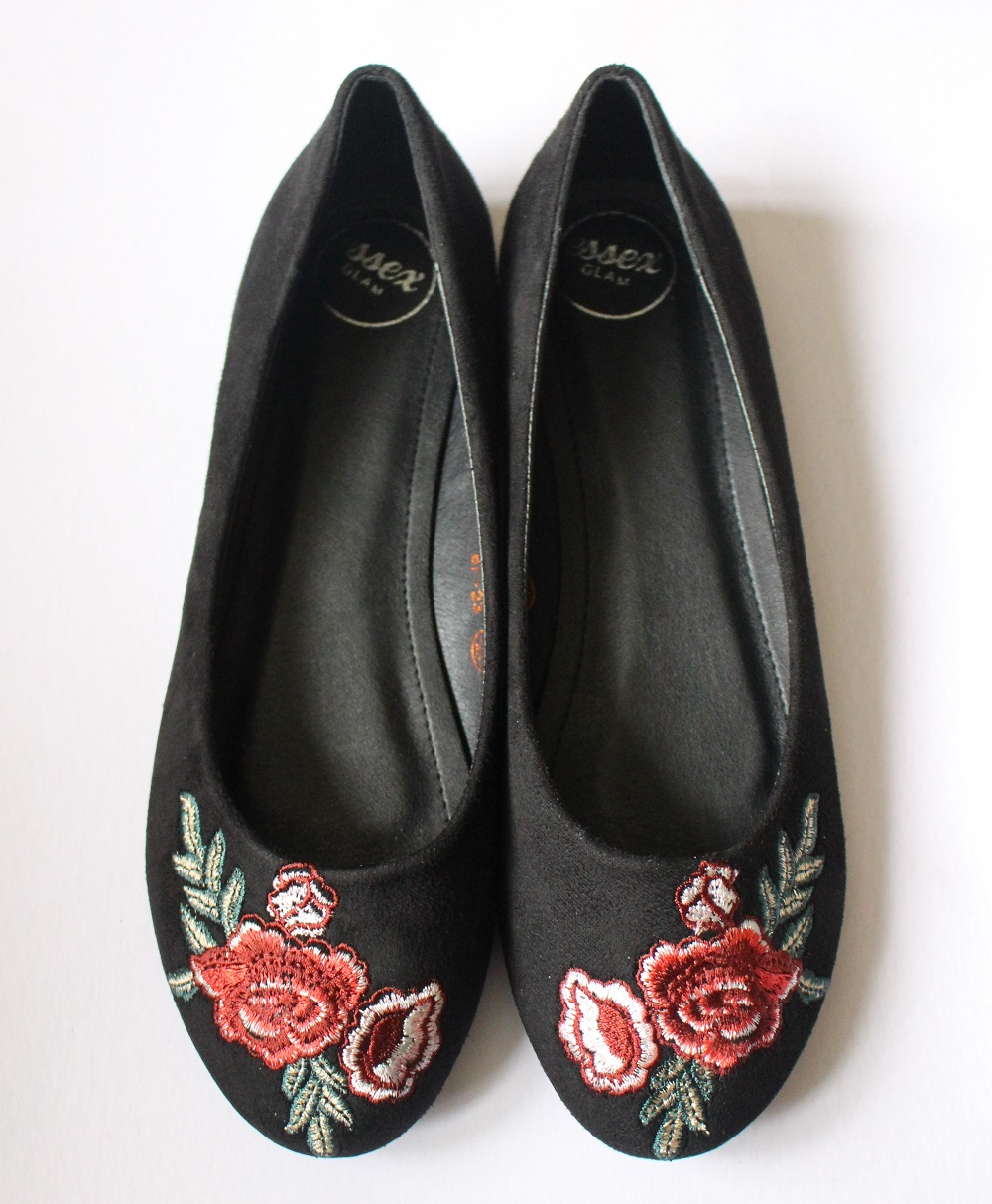 f364d4652f4 Georgio Black Faux Suede Embroidered Pumps from XYLONDON