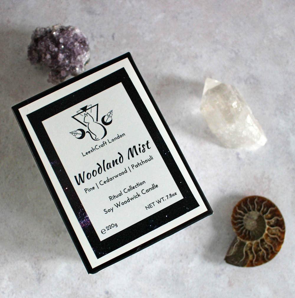 LeeshCraft London Candles Woodland Mist Rituals Collection Picture of the box.