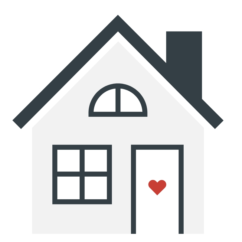 Vector of a house with a red heart on the door.