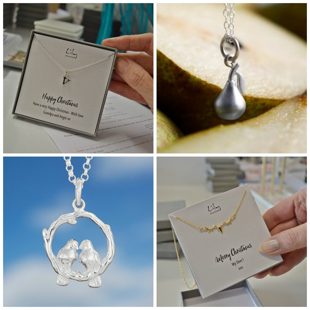 bdc98331223 Lily Charmed Images Christmas Personalised message card. Pear Necklace Two  Turtle Doves Necklace Stag Necklace