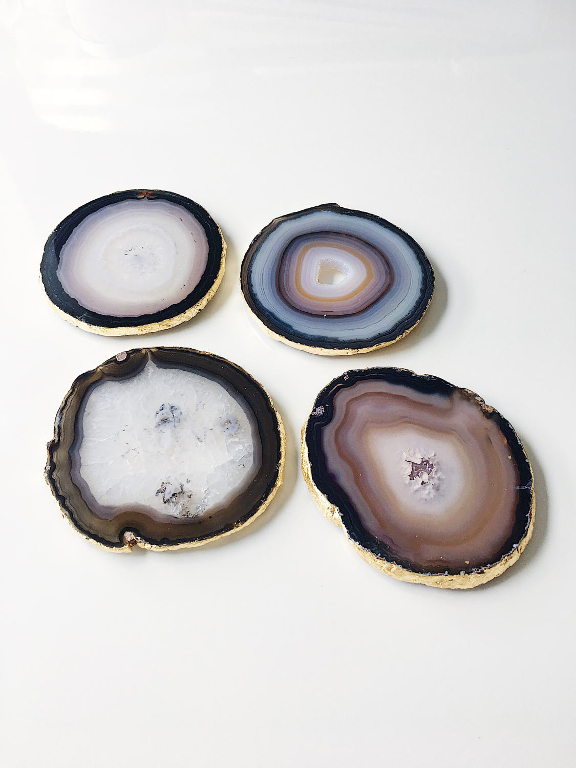 Gold Leaf Gilded Agate Drinks Coasters