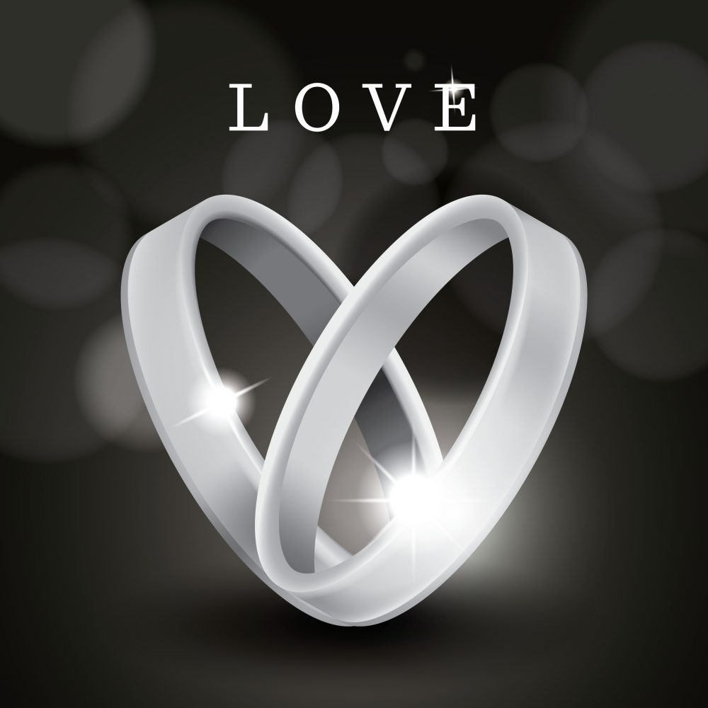 vector two silver rings with love above
