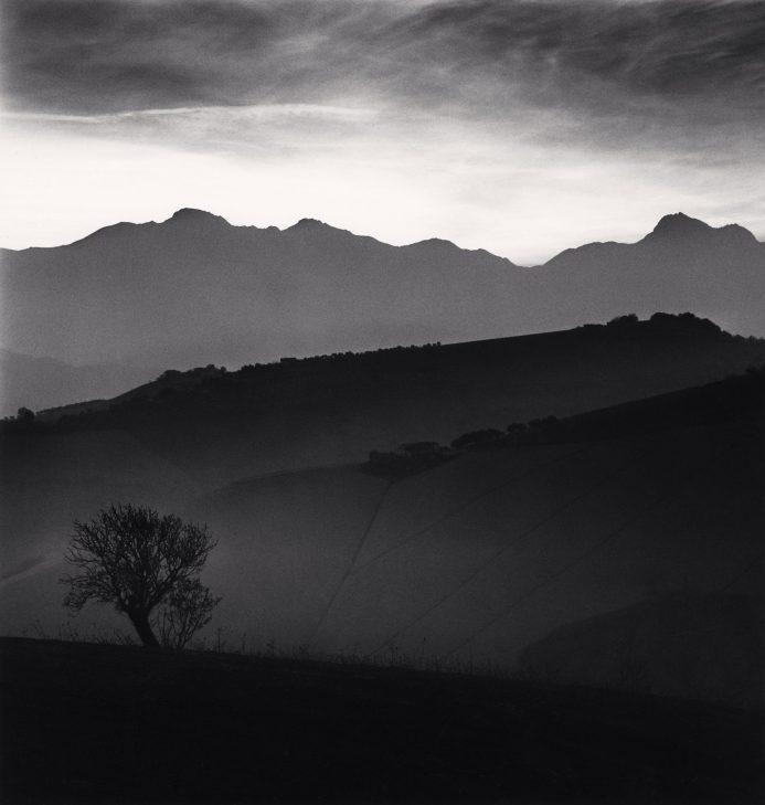Tree and Gran Sasso Mountain, Castilenti, Abruzzo, Italy. 2015. © Michael Kenna