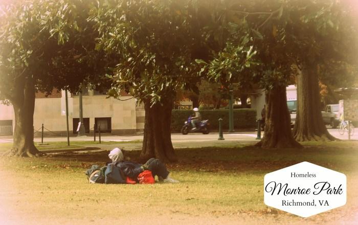Homeless man in Richmond VA at Monroe Park