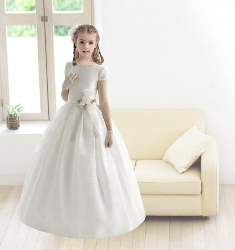 Nectarean Ball Gown Short Sleeve Hand Made Flowers Tea-Length Communion Dresses