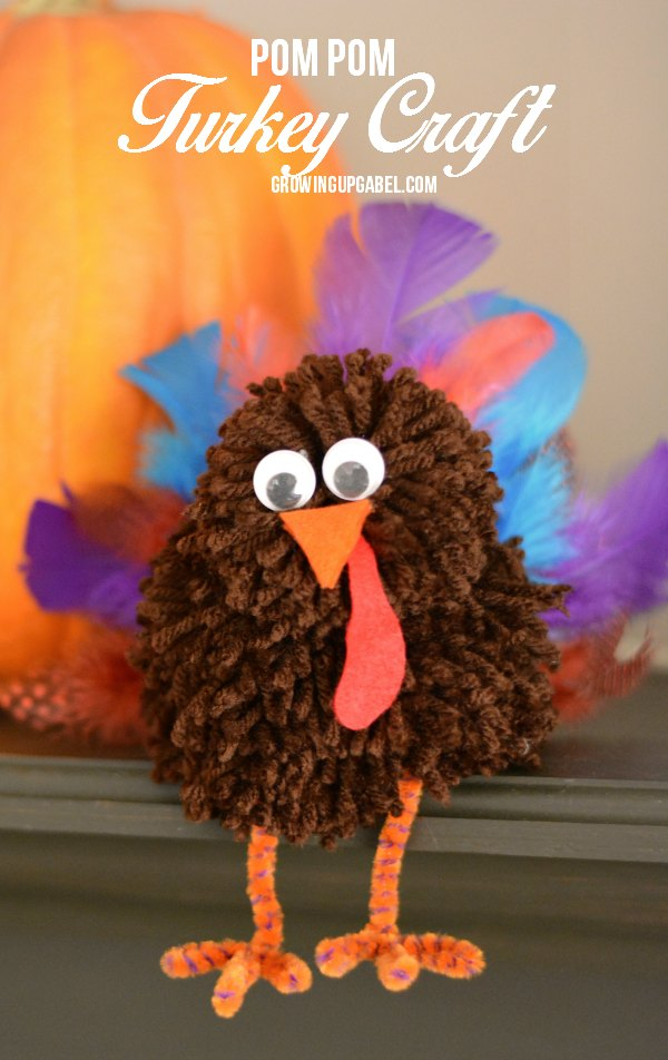Pom Pom Turkey Craft from Growing Up Gabel - Sunday's Best Week 45 Featured Blogger