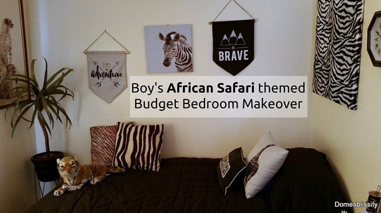 Week 81 Featured Post - Boy's African Safari Themed Budget Bedroom Makeover - Domesblissity