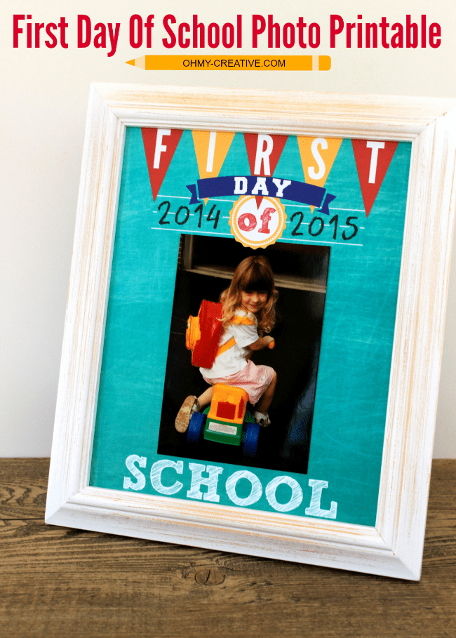 Week 85 Sunday's Best Featured Post First Day of School Printable from Oh My Creative