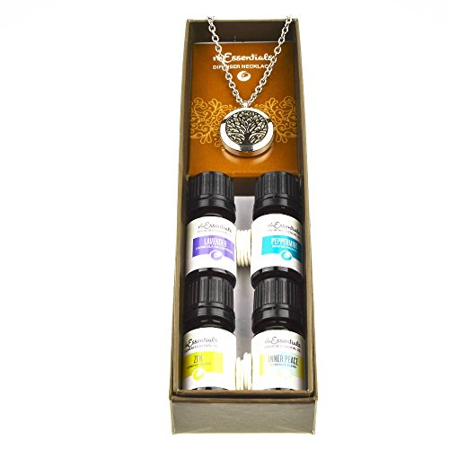 Tree Of Life Essential Oil Diffuser Necklace Stainless Steel Locket Pendant with 24″ Chain+ 4 Essential Oils Lavender Peppermint Inner Peace Zen Gift Set