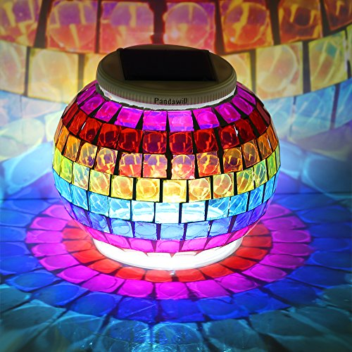 Pandawill Mosaic Glass Solar Powered Table Light,Waterproof Glass Ball Led Light With Color Changing For Outdoor Lawn ,Yard,Festival Decorations