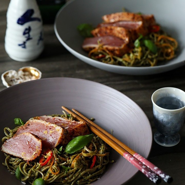Pesto Spaghetti with Seared Tuna