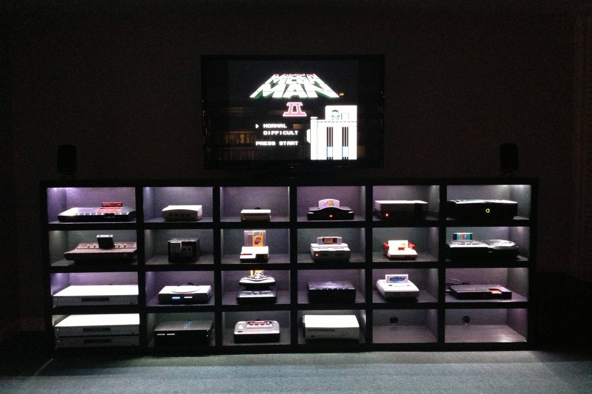 console storage with LED lighting