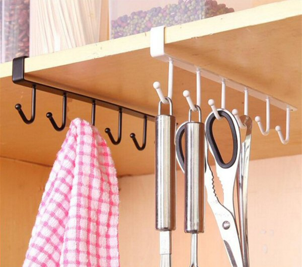UNKE 6 Hook Cup Holder Under Shelf Storage Rack Organizer