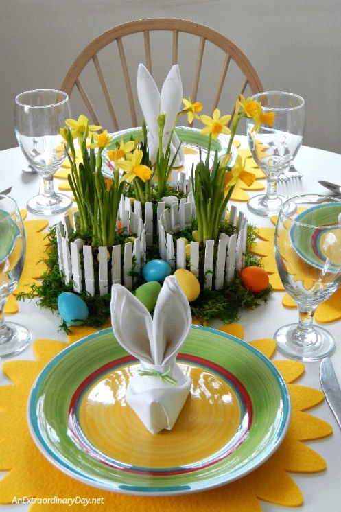 Week 168 Inexpensive Easter Center Piece from An Extraordinary Day #easter #centerpiece #tablesettings