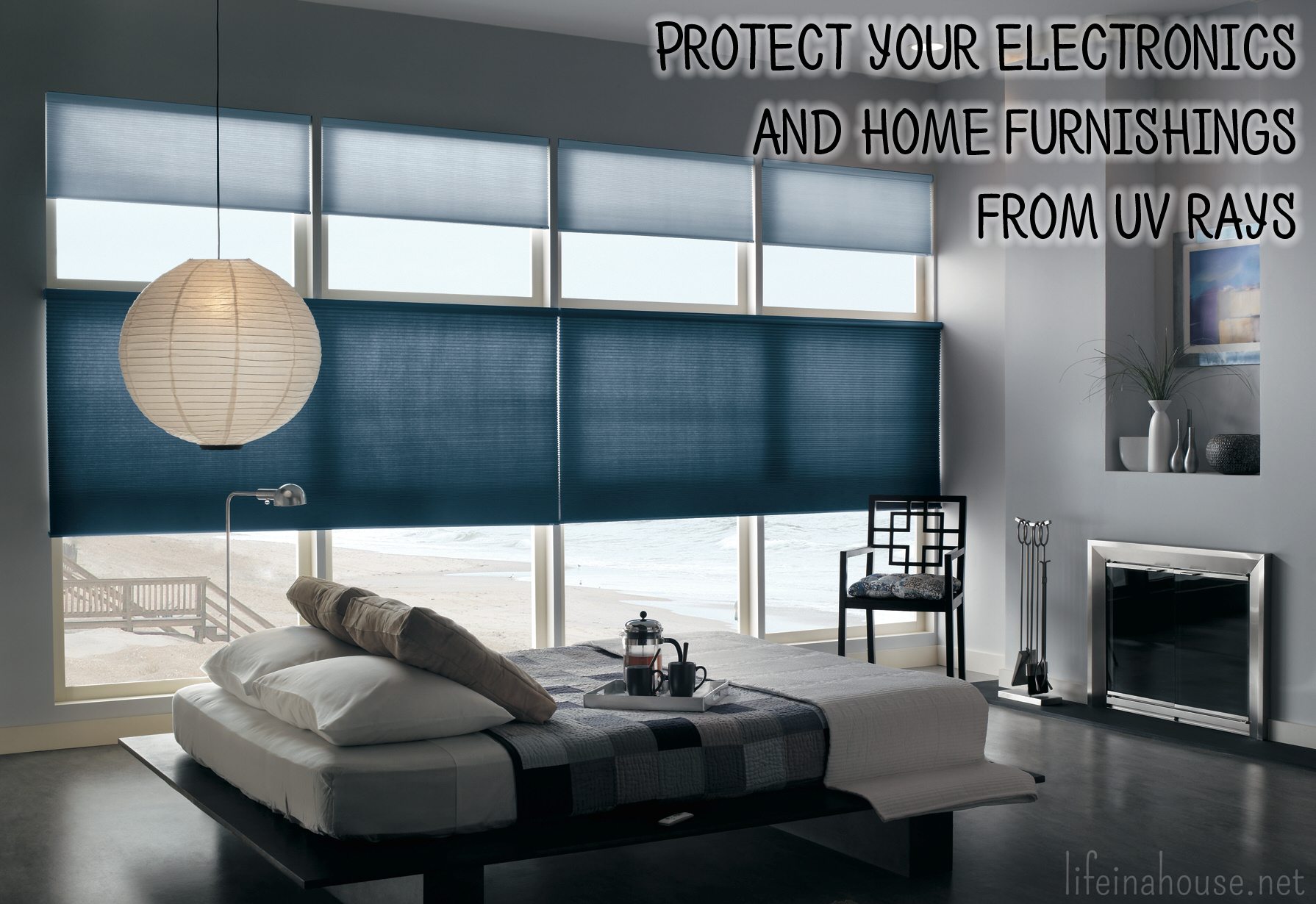 use cellular shades to protect your electronics and furnishings from UV rays
