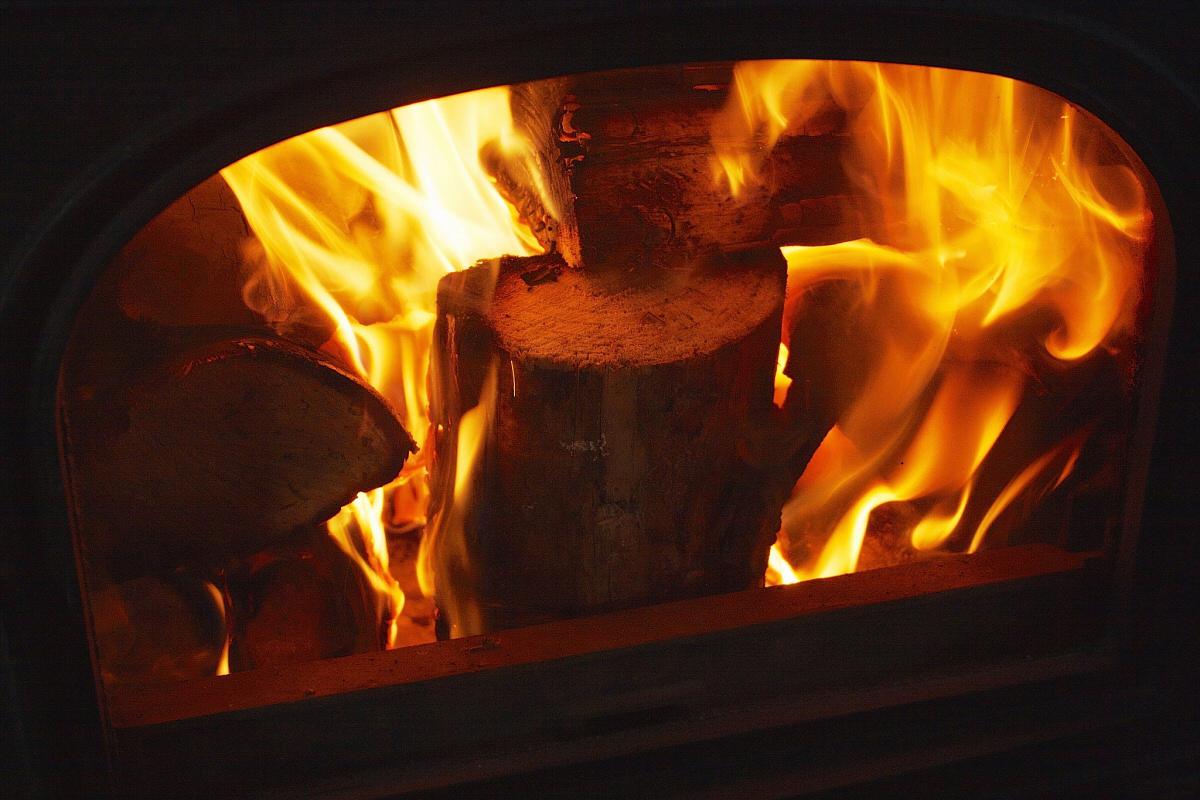 wood burning stove fire