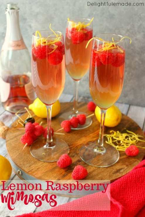 Week 169 Lemon Raspberry Mimosas from Delightful E Made #mimosas #raspberry #lemon #drinks