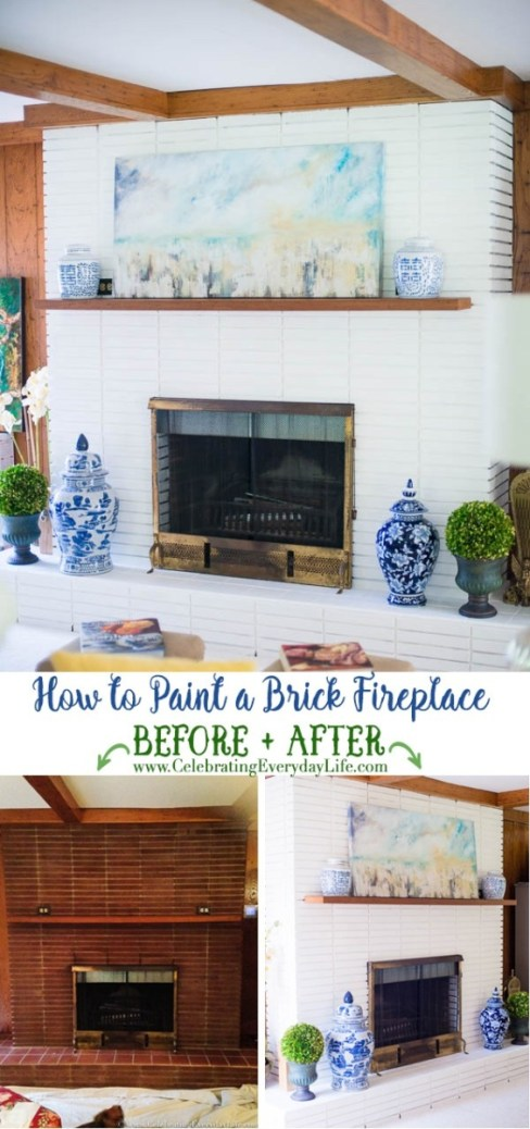 Week 170 How to Paint a Brick Fireplace from Celebrating Everyday Life