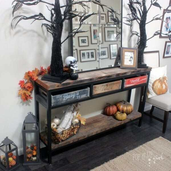 Week 195 - Halloween Entry Table and Mantel from Pop It Up Girl