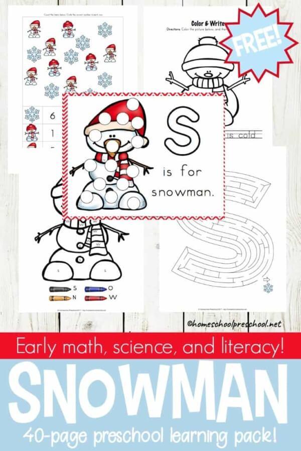 Week 211 - Preschool Snowman Printables from Home School Preschool