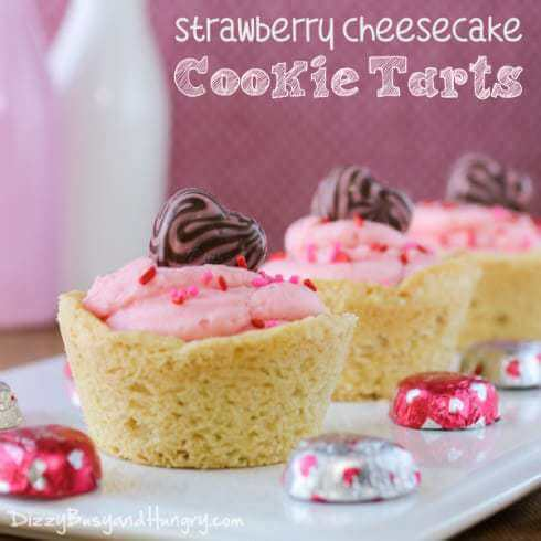 Week 212 - Strawberry Cheesecake Cookie Tarts from Dizzy Busy and Hungry
