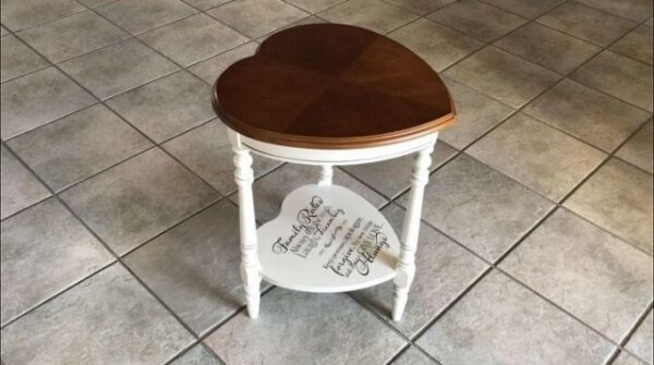 Week 213 - Upcycled Heart Shaped Table from Chas Crazy Creations