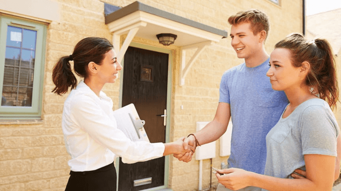 teens with real estate agent