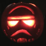 Pumpkin for Halloween in Basel carved like a star wars character