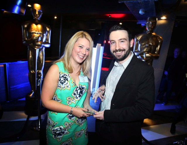 Being presented with my award by Matt Briggs from Newcastle International Airport whp sponsored the travel category