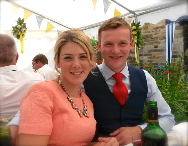 rach and james at gem's wedding