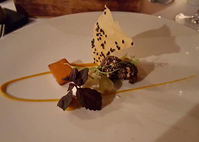 roast squash, goats cheese, black olive and northumbrian honey