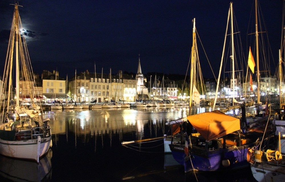 Motorhoming in France | Visiting Honfleur's Historic Harbourside at Night