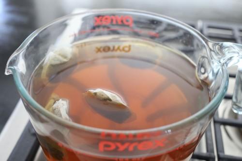 tangerine green tea steeping
