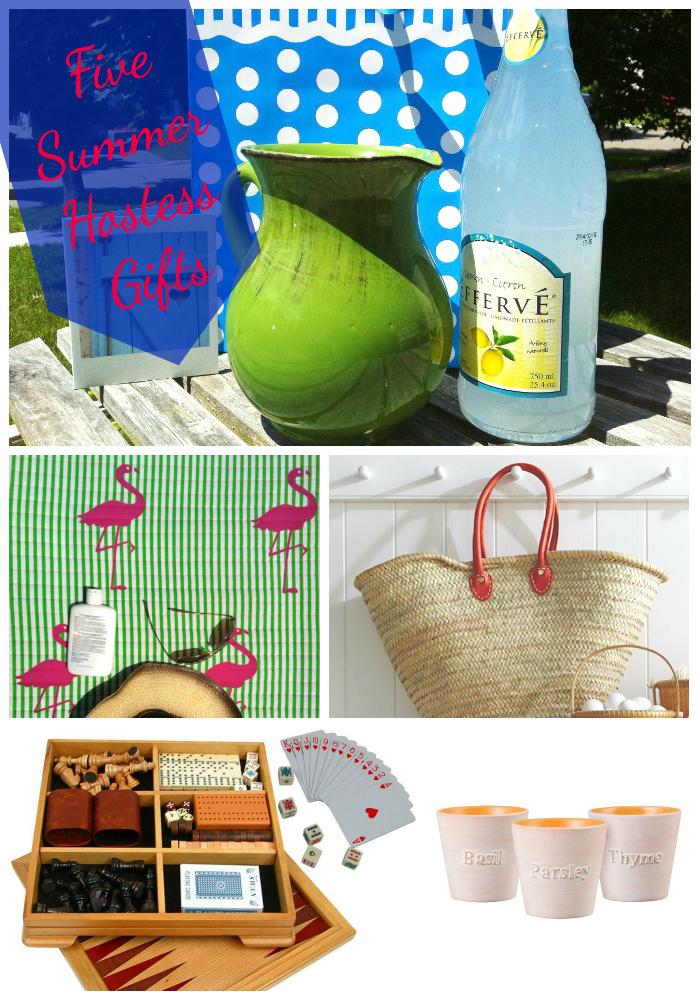 summer hostess gifts, summer gifts, hostess gifts, gift ideas, market basket, game set, pitcher, sparkling lemonade, beach mat, herbs, herb planter
