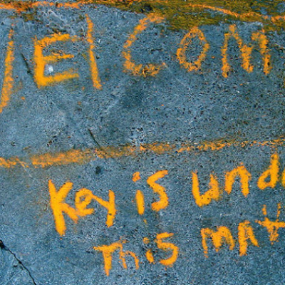 Welcome mat for visitors